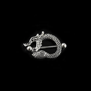 Nipple piercing, 14 gauge barbell, body piercing jewelry. Dragon nipple shield (bj-60-09)