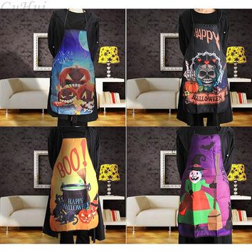 Halloween Aprons Skull Pumpkin Printing Adult Kitchen Apron Dinner Party Cooking Apron Cozinha Tablier Cuisine Pinafore Children