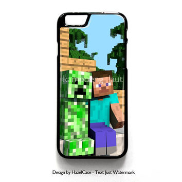 Minecraft Steve Creeper for iPhone 4 4S 5 5S 5C 6 6 Plus , iPod Touch 4 5  , Samsung Galaxy S3 S4 S5 Note 3 Note 4 , and HTC One X M7 M8 Case Cover
