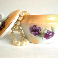 Vintage porcelain vanity trinket jar box violets flowers motif, golden tan white china porcelain dresser item, cream pot Cottage Chic