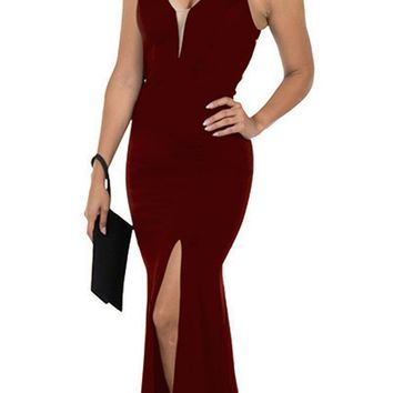 Cut-Out Back Mermaid Long Prom Dress with Slit Burgundy