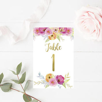 Watercolor Floral Printable Table Numbers 1-20 - Wedding Table Numbers - Table Signs - Floral Wedding Decor - 4x6 - Party Printables