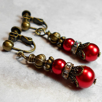 Red Drop Clip on Earrings Faux Pearl Beaded Rhinestone Filigree Antiqued Brass Vintage Style Dangle Womens Holiday Jewelry Accessories