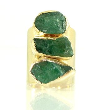 Exquisite Raw Emerald Ring in a Gold or Silver setting