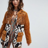 Sacred Hawk faux suede and cowboy jacket at asos.com