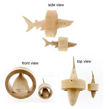 Shark Inlay Wood Plugs (7/8 inch - 2 inch)