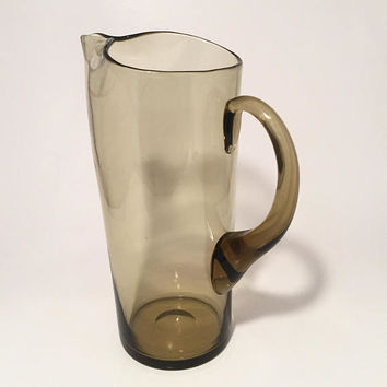 Brown Glass Martini Pitcher, Mid Century Barware, Cocktail Pitcher