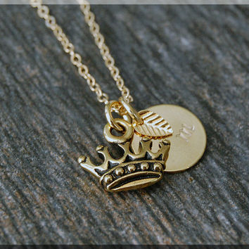 Gold Royal Crown Charm Necklace, Initial Charm Necklace, Personalized, Fairytale Charm, Crown Pendant, Fairytale Jewelry, Crown Necklace