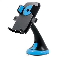 Car Cell Phone Holder with Bracket and Suction Cup for Vehicle Dashboard, Windshield (Blue)