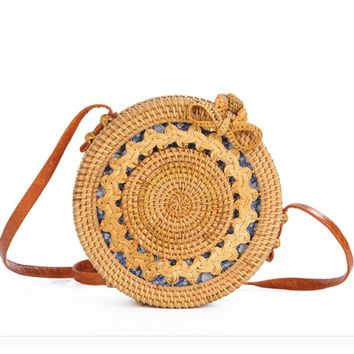 Hand-Woven Rattan Bag Embroidery Shoulder Crossbody Bags