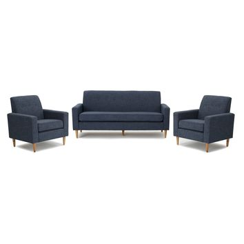 Stratford Mid Century Modern Fabric Sofa and Club Chairs Set