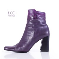 Purple Vintage Ankle Boots Chunky Tall Block Heel Snakeskin Leather 90's Vintage Shoes Women's Size US 8.5 - UK 6.5 - EUR 39