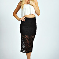 Lisa Exposed Lace Midi Skirt