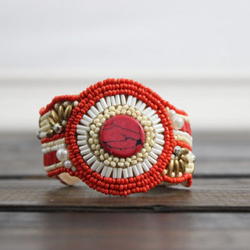 Coral Jewel Beaded Cuff Beaded Bracelet Cuff Statement Jewelry Bracelet Bangles