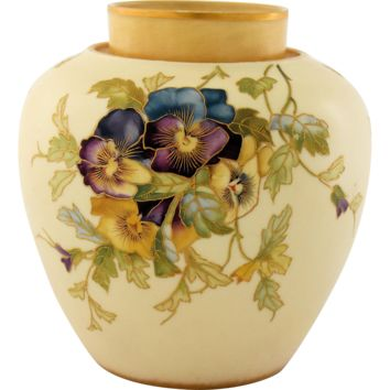 Antique Royal Worcester Porcelain Urn Vase Hand Painted Pansies Gold Gilt Trim 19th Century