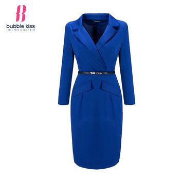 Bubblekiss Winter Women Bodycon Dress Office Long Sleeve V Neck Solid Color Ruched Formal Dress Autumn Pencil Dresses Vestidos