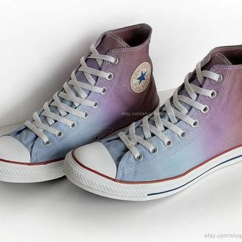 ombr dip dye converse all stars light blue purple brown upcycled vintage sneakers