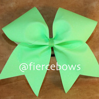 Neon Lime Glitter Cheer Bow