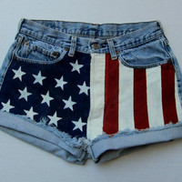 AMERICAN WOMAN American flag hand painted Levi cut offs made to order