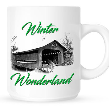 Holiday Coffee Mug with Winter Wonderland Print