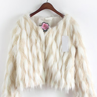 White Long Sleeve Faux Fur Cropped Coat