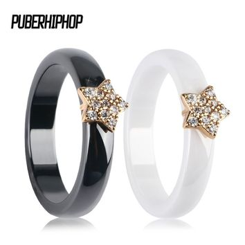 Gold Color Star Women Rings With Bling CZ Rhinestone 4MM Smooth Black White Ceramic Rings Jewelry Wedding Anniversary Gift