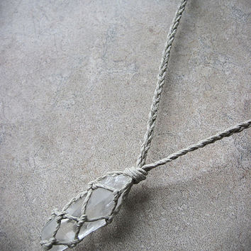 Quartz Point Necklace, Hemp Necklace, Crystal Necklace