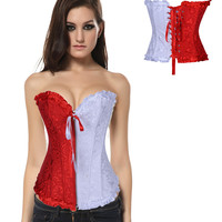 Red and White Jacquard Print Ruffled Zipper Tie Corset