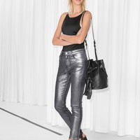 & Other Stories | Metallic Cropped Jeans | Silver
