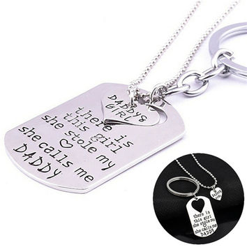 There's the Girl She Stole My Heart Daddy Daughter Keychain Necklace Set Jewelry Gifts  SM6