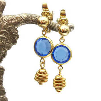 Trifari Blue Crystal Gold Tone Drop Dangle Clip On Earrings Open Bezel Sapphire Blue Crystal - Vintage Signed Trifari - September Birthstone