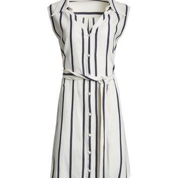 PAYTON WIDECOLLAR SLEEVLESS SHIRT DRESS | Alice + Olivia