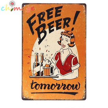 Free Beer!  Tomorrow vintage style tin sign