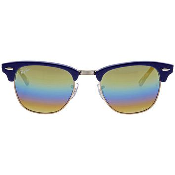 Ray Ban Clubmaster Gold Rainbow Flash Mens Sunglasses RB3016 1223C4 49