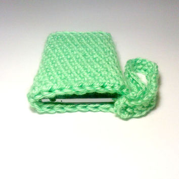 Lime Green Phone Case , Crochet Cell Phone Case , Cell Phone Cover , Green Wristlet , Crochet Wristlet , Iphone Case , Cell Phone Cover