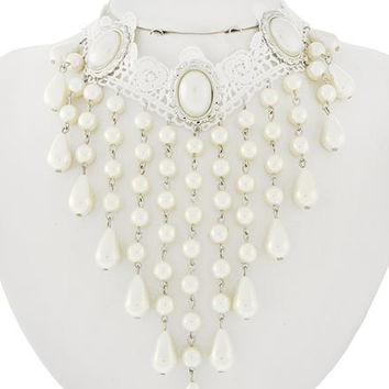 Pearl & White Lace Victorian Bridal Necklace