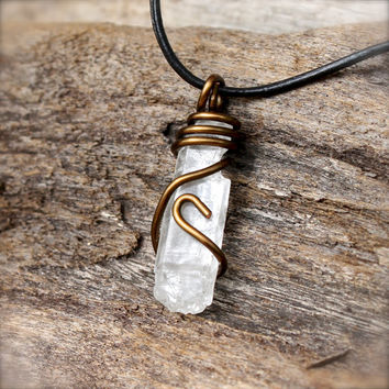 Lemurian Seed Quartz Jewelry for Men - Leather Necklace for Men - Natural Crystal Jewelry -  Clear Crystal Necklace - Gypsy Boho Jewelry