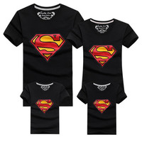 2016 Family Look Superman T Shirts  Family Matching Clothes Father & Mother & Kids Cartoon Outfits