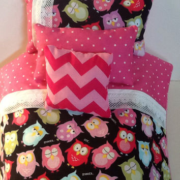 "Owl bedding  - doll bedding -  pink chevron - polka dots - Colorful blanket - 4 pc set -  18"" dolls - comforter set - cotton cover  - pillow"