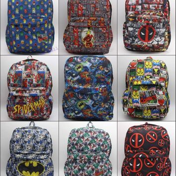 DC Comics Marvel Comics Deadpool Iron Man The Flash Superman Batman Backpack student book bag canvas Shoulder Bag 18 style