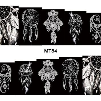 Tip of Nail MT84 Full Cover Indian White Black Dream Catcher Nail Art Water Sticker Decal For Nail Art Tattoo Tips DIY