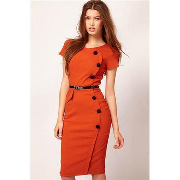 Orange Fashion Slimming Midi Dress with Belt and Buttons