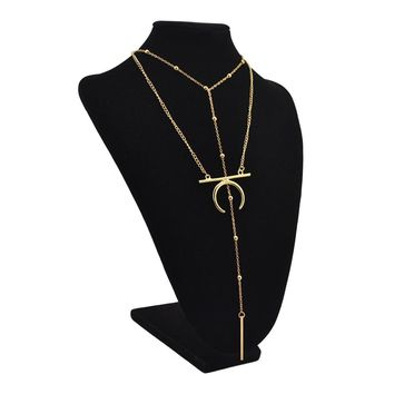 New Double Layer Gold Silver Tassel Chain Alloy Moon Bar Beads Horn Pendant Necklace for Women Party Fashion Necklaces Jewelry