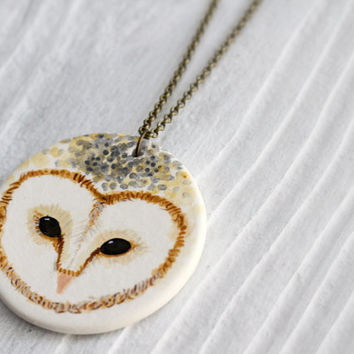 Barn owl statement necklace- Large ceramic owl necklace