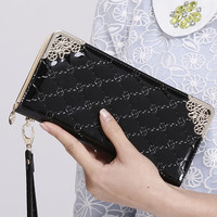 Zipper Long Leather Wallet for Women