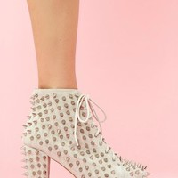Lita Spike Platform Boot - Bone Suede in  Shoes Litas at Nasty Gal