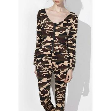 Sexy Plunging Neck Camo Long Sleeve Jumpsuit For Women - Army Green Xl