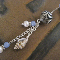 Belly Button Jewelry- Navel Ring Piercing Oyster Pearl Opal Blue Seashell Long Chain Charm Dangle Sea Shell Barb Barbell