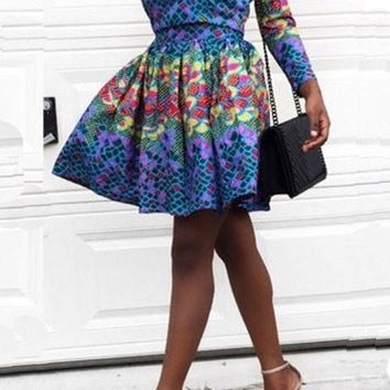 Blue Tribal Print Off Shoulder Pleated Tutu Party Bohemian Mexican Tradition Mini Dress