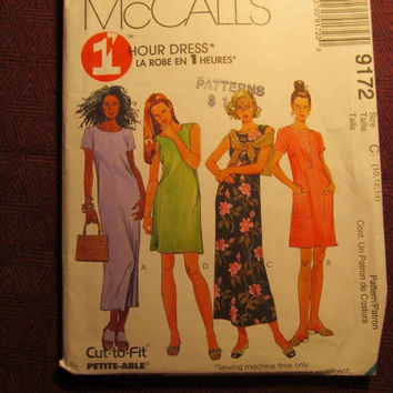 SALE Uncut 1998 McCall's Sewing Pattern, 9172! 10-12-14 Medium/Women's/Misses/Petite-Able/1 hour Dress/Loose Relaxed Fit Dress/Sleeveless/Sh